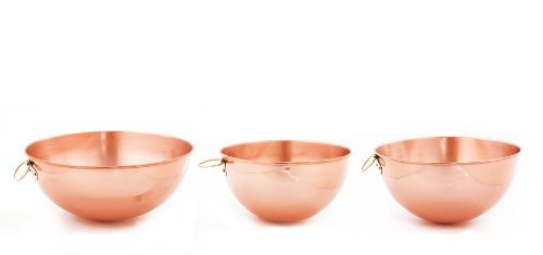 Old Dutch Solid Copper Beating Bowls, Set of 3 (2 Qt, 4.5 Qt, 5 Qt.) by Old Dutch