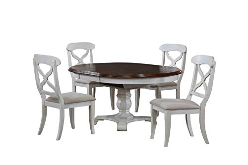 Sunset Trading DLUADWTPB4866AWTB(4) DLUADWC12AWRTA 5 Piece Andrews Butterfly Leaf Dining Set, Antique White