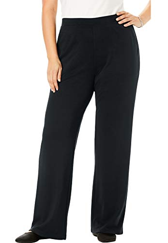 Woman Within Women's Plus Size Tall Wide Leg Ponte Knit Pant - Black, 24 T