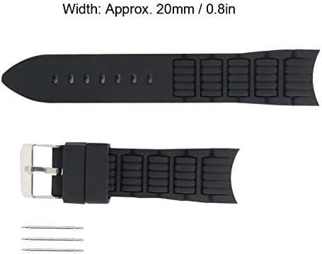 時計ストラップ、20mmシリコン時計バンドピンバックルウォッチストラップ、3つのスプリングバー付き時計交換部品時計職人用アクセサリー(白い)