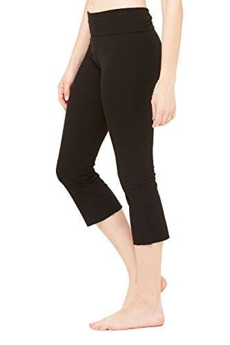 (Dri-Equip Women's Cotton Spandex Capri Fit Legging-Black-2XL)