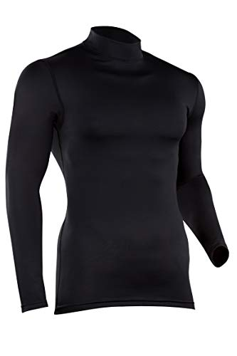 ColdPruf Men's Quest Performance Base Layer Long Sleeve Mock Neck Top, Black, Tall X-Large