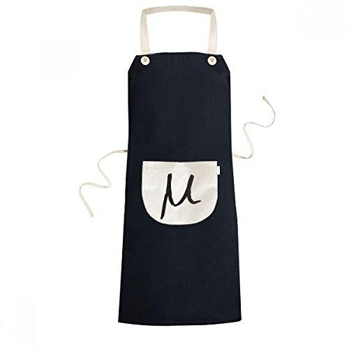 DIYthinker Greek Alphabet Mu Black silhouette Cooking Kitchen Black Bib Aprons With Pocket for Women Men Chef Gifts
