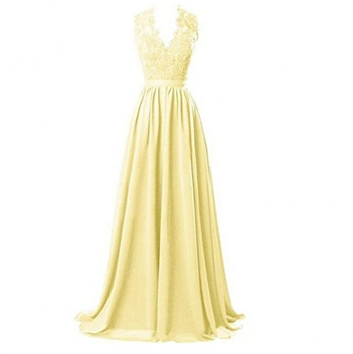 onore a d' Line Appliques abiti damigella Backless donna A Beauty Prom Gown KA scollo Yellow V con WFfxHng