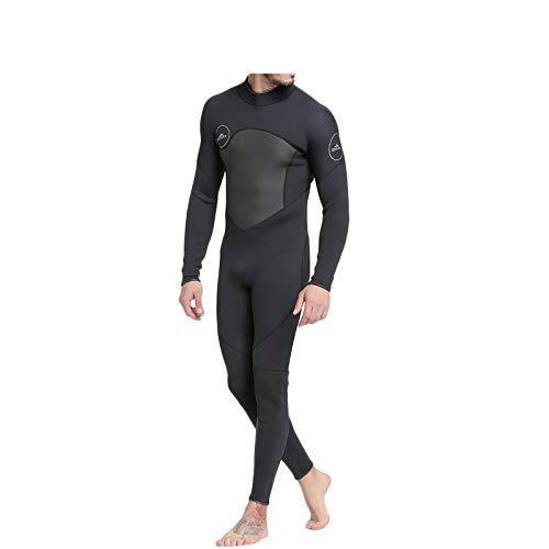 男性用高級ネオプレンウェットスーツ、厚さ3MMの暖かい紫外線防止水着で、水泳やダイビングに最適です。 B07QXJGKKP Medium black black Medium