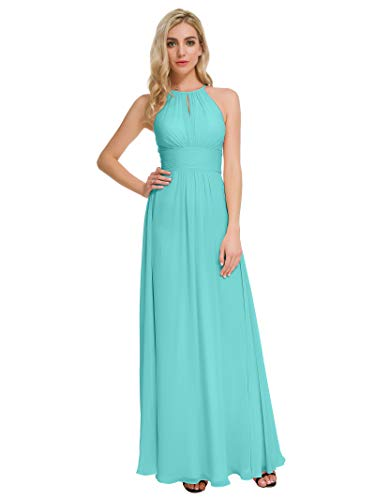 Alicepub Maxi Bridesmaid Dresses Jewel Neck Prom Gowns Halter Evening Dress Plus Size, Tiffany, - Jewel A-line Neck