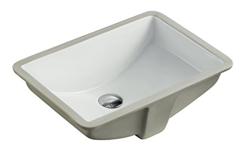 KINGSMAN 21.5 Inch Rectrangle Undermount Vitreous Ceramic Lavatory Vanity Bathroom Sink Pure White (21.5 Inch)