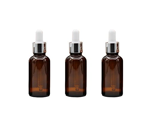Ounce Dropper 0.5 (3PCS 0.5oz Empty Refillable Glass Dropper Bottle Jars with Glass Eye Dropper Essential Oil Perfume Aromatherapy Vial Pot Storage Container with White Ruuber Cap and Silver Circle (Brown))