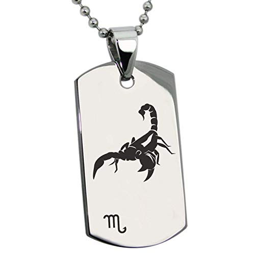 Stainless Steel Silver Gold Black Rose Gold Plated Scorpio Astrology Zodiac Sign Pendant Dog Tags Men Women Necklace 24'' Ball Chains (Best Dog For Zodiac Sign)
