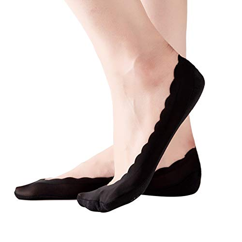 RIIQIICHY Women No Show Socks with Wavy Edge Hidden Ultra Low Cut Invisible Non Slip Liner Socks for Flats Boat Loafers High-Heel Shoes 4 to 6 Pack