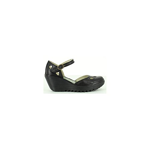 Womens Fly London Yuna Wedge Heel Sandals Ankle Strap Summer Work Shoes - Black - 8 by FLY London