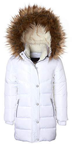 (Girls Heavy Quilt Fleece Lined Long Winter Jacket Coat with Zip-Off Sherpa Hood - White (5/6))
