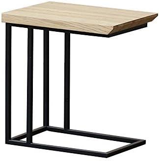 Fabrieksprijs Bijzettafel/salontafel van ijzer/salontafel/nachtkastje/krantenrek/boekenplank/bloemenstandaard van metaal – open opslag – onderlegger van massief hout – L 45 x B 30 x H 66 cm A+ 1sSB1t3