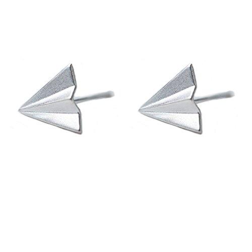 Sterling Silver Airplane - Helen de Lete Original Little Airplane Sterling Silver Stud Earrings
