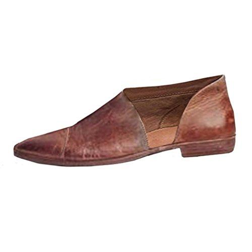 Anxinke Vente Chaude Femmes Mocassins Slip-on Bout Pointu Coupé Chaussures Plates Marron