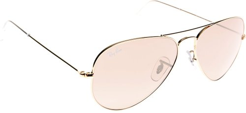(Ray-Ban Aviator Large Metal Sunglasses Arista/Crystal Pink Silver Mirror, L)