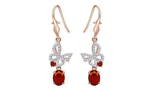 Valentines Day Gifts Womens Flying Butterfly Cubic Zirconia Drop Earrings in Rose Gold Over Sterling Silver