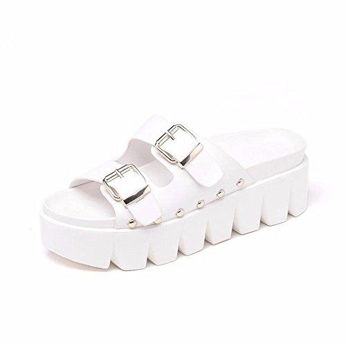 YMFIE Zapatillas Antideslizantes para Piscina, Zapatos de Baño para Verano, Cómodas y Gruesas blanco