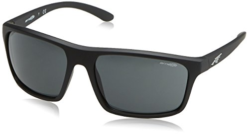 Arnette Men's Sandbank Square Sunglasses, Black Rubber, 61 - Sunglasses Arnet