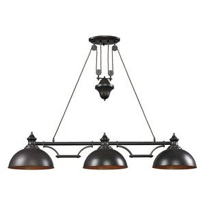 -Inch Farmhouse 3-Light Billiard/Island Chandelier, Oiled Bronze Finish ()