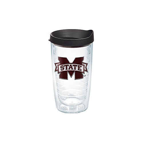 Tervis 1056589 Mississippi State University Emblem Individual Tumbler With Black Lid  16 Oz  Clear
