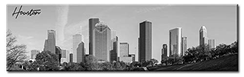 DJSYLIFE-Canvas Wall Art,Black and White Skyline Wall Panoramic Houston Cityscape Picture Wall Decoration for Bedroom or Office,Framed and Ready to Hang, 13.8