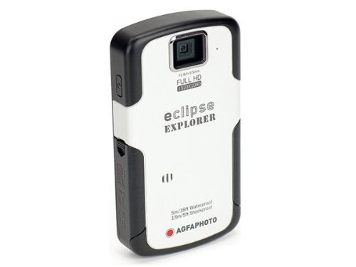 Agfaphoto eClipse Explorer HD Camcorder with Waterproof HD Recording, 4 x Optical Zoom and 2.5-Inch LCD Screen (White) by AgfaPhoto