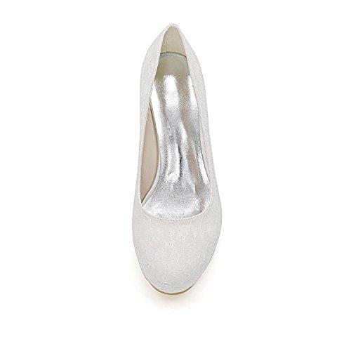 L@YC Frauen Hochzeit Schuhe Bequeme Piste Fersen Herbst und Winter 9140-01a & Satin abendkleid Blue