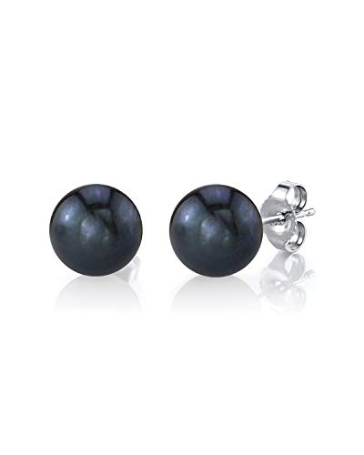 THE PEARL SOURCE 14K Gold 7-8mm AAAA Quality Round Black Freshwater Cultured Pearl Stud Earrings for Women