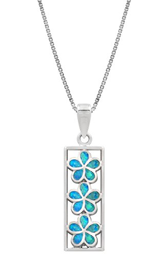 Honolulu Jewelry Company Sterling Silver Three Plumeria Flower Bar Necklace Pendant with Simulated Blue Opal and 18