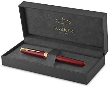 Parker Sonnet - Bolígrafo roller (lacado en rojo, con adorno dorado y punta fina, en estuche): Amazon.es: Oficina y papelería
