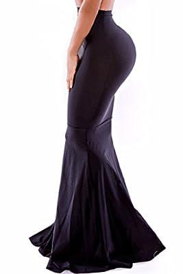 Taiduosheng Women Black High Waist Bodycon Mermaid Floor-length Maxi Skirt