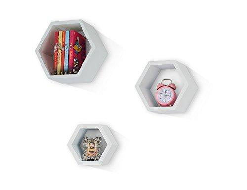 Mesola Design Wood Floating Shelves Hexagon Shape - Large Hanging Wall Mount Shelf Set - Deep Shelves Perfect For Home Decor, Living Room, Bathroom, Bedroom, Kitchen, and more - Set (Hexagon Design)