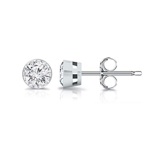 (Diamond Wish 14K White Gold Round Lab Created Diamond Stud Earrings (0.25 cttw, G-H Color, SI2-I1 Clarity) Bezel Set, Push-Back)