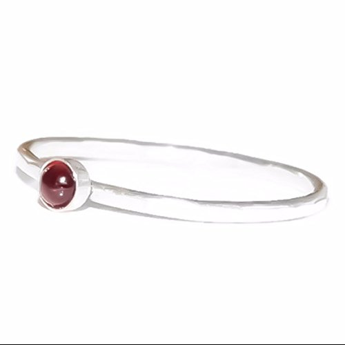 - 925 Sterling Silver Red Garnet Stacking Ring 3MM January Birthstone Jewelry Gemstone Ring Stackable Ring Size 2 3 4 5 6 7 8 9 10 11 12 13