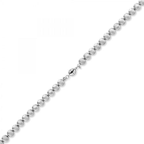 8mm Boule chaîne collier en or 585or blanc mat 50cm
