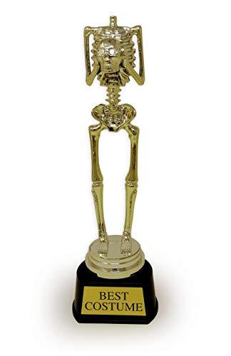 4E's Novelty Halloween Trick or Treat Party Golden Skeleton Best Costume Skeleton Trophy Award, Perfect Office Award Trophy