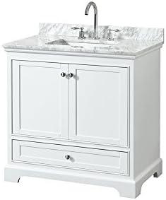 Wyndham Collection Deborah 48 inch Single Bathroom Vanity in White, White Carrara Marble Countertop, Undermount Square Sink, and No Mirror