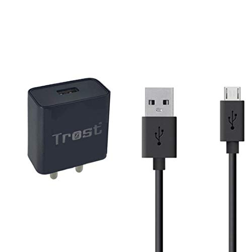 Trost   2Amp Wall Travel Charger Adapter with Micro USB Data Sync Cable for Samsung J7 PRO, J7 Max, J7 Prime   All Smartphones Black, 2A