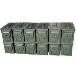 US Military M2A1 .50 Cal Ammo Cans, Pack of 12 50 Cal Ammo Types