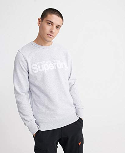 Superdry Core Logo Suede Sweat in Collective Light Marl