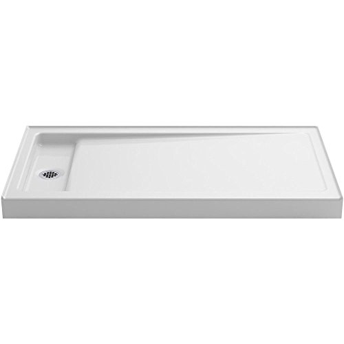 KOHLER K-9163-0 Bellwether 60-Inch x 32-Inch Single-Threshold Shower Base with Left Center Drain, White