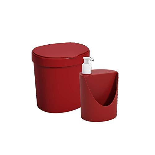 Kit Pia Lixeira 2, 5L + Dispenser Coza Vermelho Bold