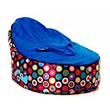 Baby Bean Bag Chair - UNFILLED - Blue with Decorative Circles