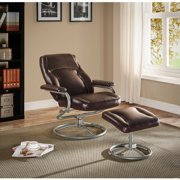 Plush Pillowed Recliner Swivel Chair And Ottoman Set, Vinyl, Brown, Bundle  With Ebook