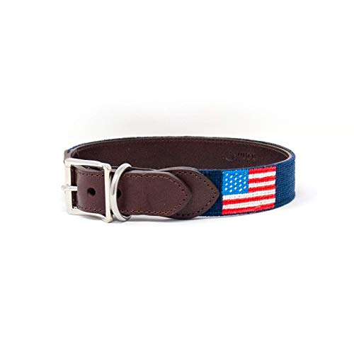 Huck Venture Durable Handcrafted Artisan Needlepoint Dog Collar w/Full-Grain Leather Backing and High-Grade Stainless Steel Hardware (American Flag, - Collar Leather American