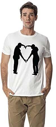 Couple Love cotton round neck tshirt, White XL