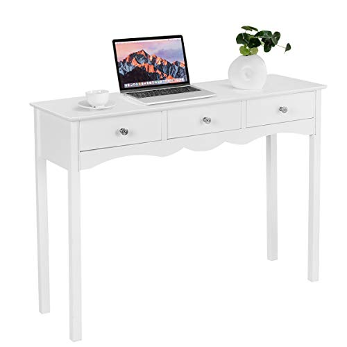Giantex Console Table for Entryway W/Storage 3-Drawers Hall Table Desk for Living Room Bedroom Multifunctional Usage Accent Side Sofa Table (White)
