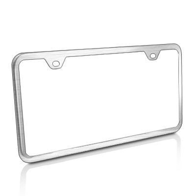 CarBeyondStore Slim Brushed Stainless Steel 2 Holes License Frame