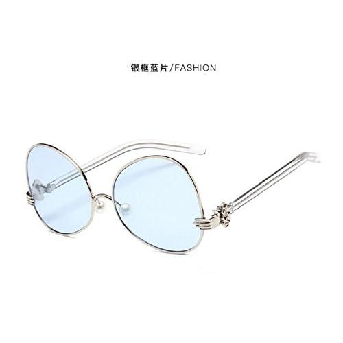 Sucastle Version coréenne lunettes de soleil boîte ronde perle film océan lunettes de soleil lunettes Métal AC QWERT